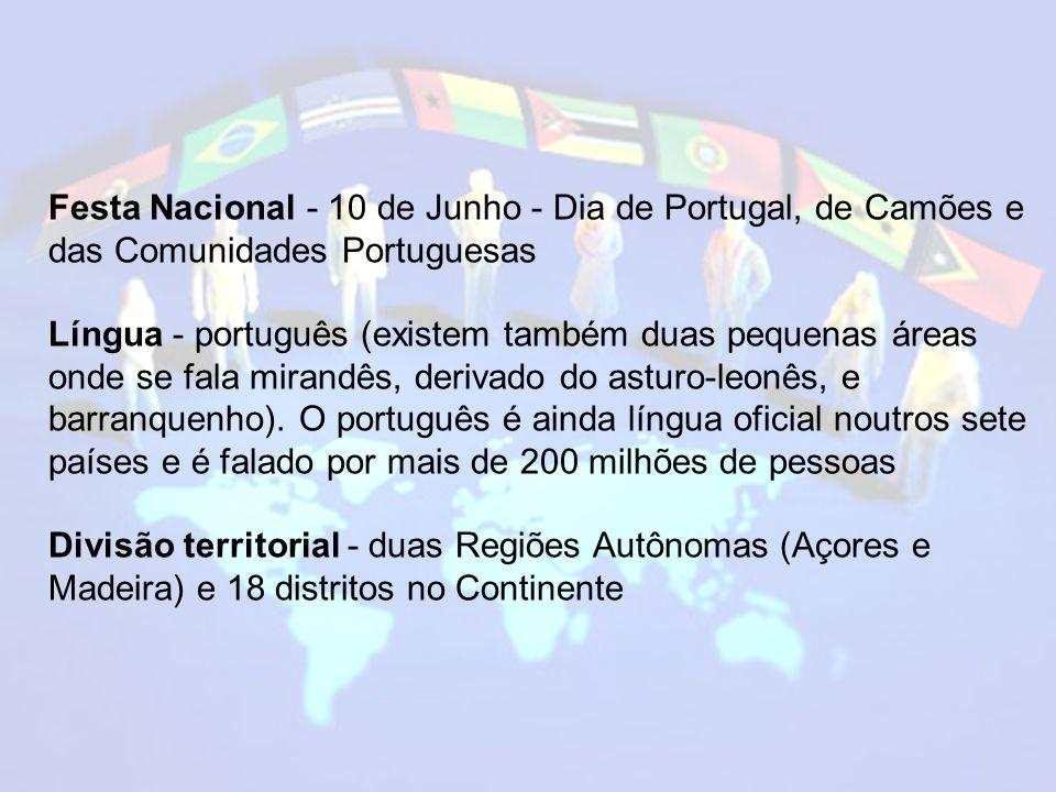 Festa Nacional - 10 de Junho - Dia de Portugal, de Camões e das Comunidades Portuguesas Língua - português (existem também duas pequenas áreas onde se fala mirandês, derivado do asturo-leonês, e barranquenho).