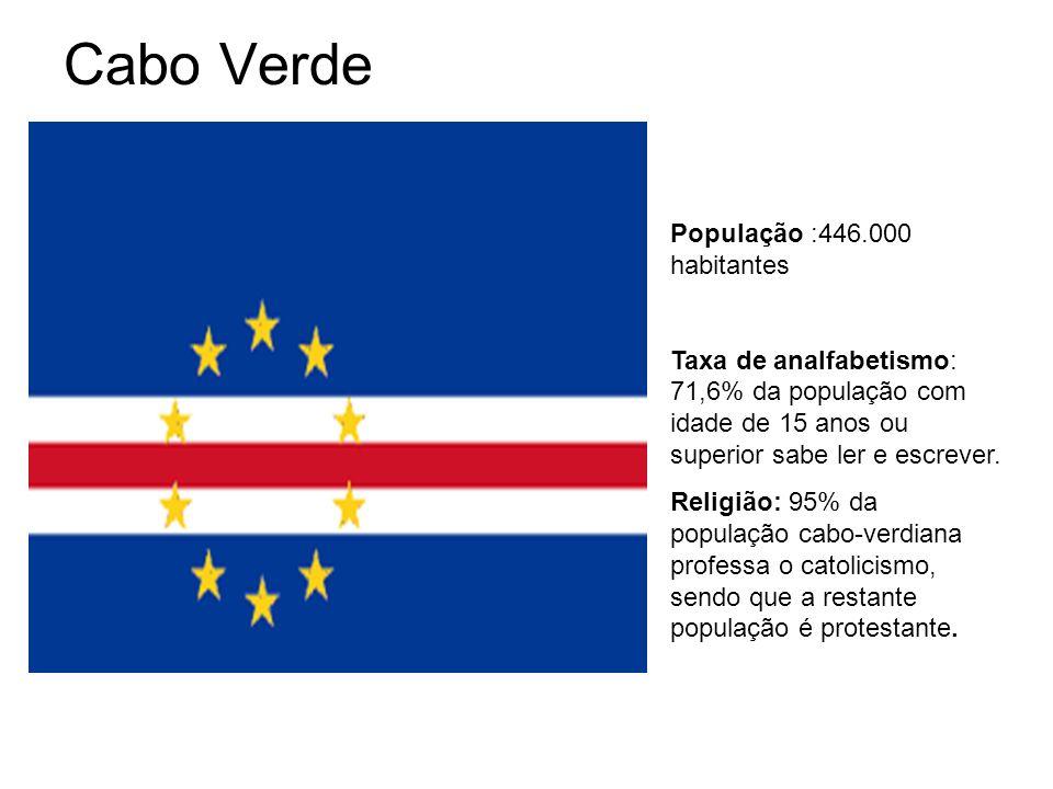Cabo Verde População :446.000 habitantes Taxa de analfabetismo: 71,6% da população com idade de 15 anos ou superior sabe ler e escrever.
