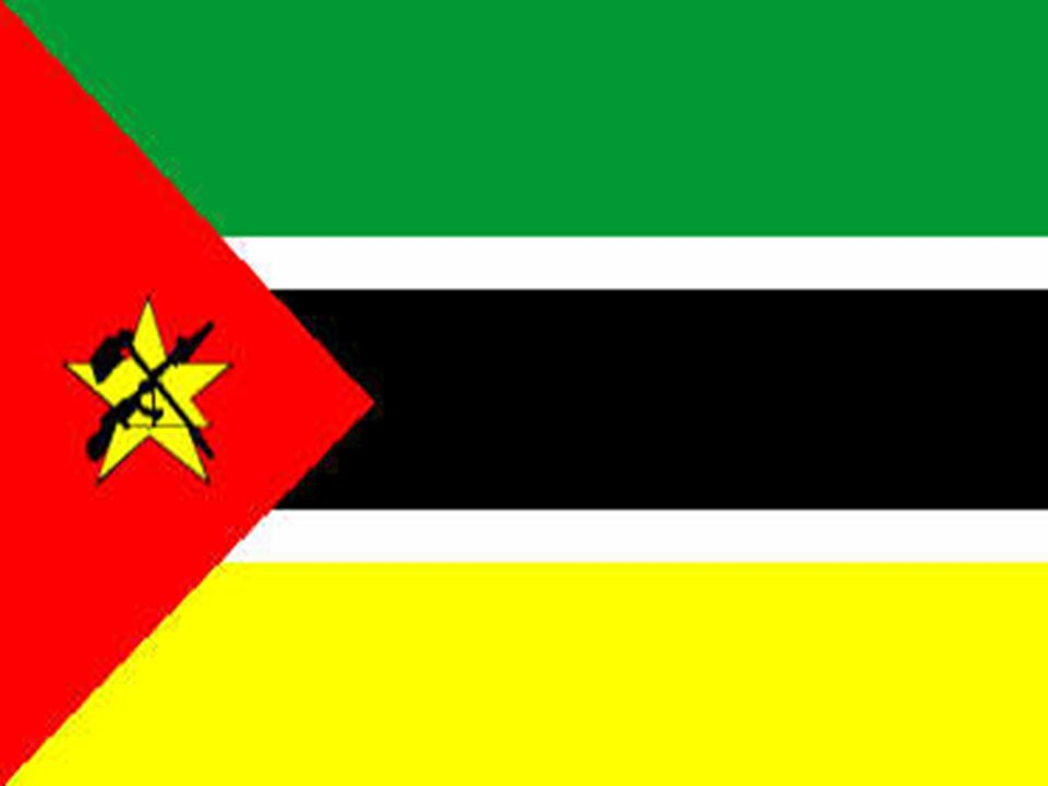 Moçambique está localizado no leste da África.