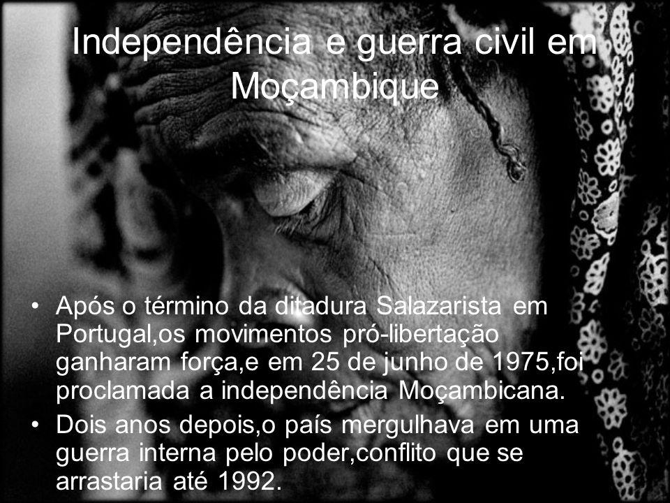 Independência e guerra civil em Moçambique Após o término da ditadura Salazarista em Portugal,os movimentos pró-libertação ganharam força,e em 25 de junho de 1975,foi proclamada a independência Moçambicana.