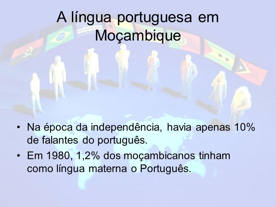 A língua portuguesa em Moçambique Na época da independência, havia apenas 10% de falantes do português.