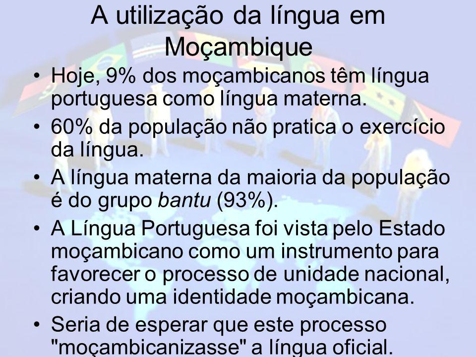 A utilização da língua em Moçambique Hoje, 9% dos moçambicanos têm língua portuguesa como língua materna.
