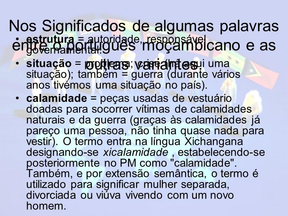 Nos Significados de algumas palavras entre o português moçambicano e as outras variantes.