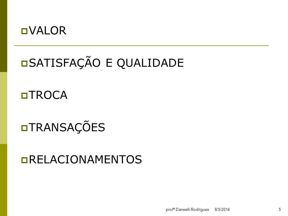 VALOR SATISFAÇÃO E QUALIDADE TROCA TRANSAÇÕES RELACIONAMENTOS 8/5/20145profª Daneelli Rodrigues