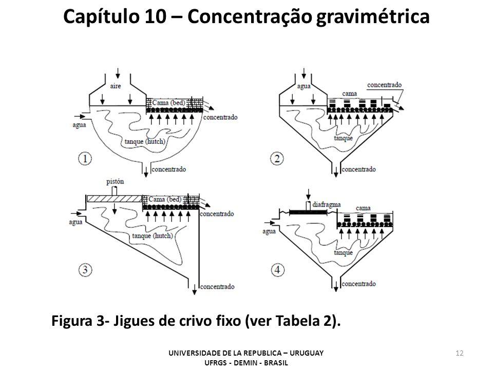12 Capítulo 10 – Concentração gravimétrica Figura 3- Jigues de crivo fixo (ver Tabela 2). UNIVERSIDADE DE LA REPUBLICA – URUGUAY UFRGS - DEMIN - BRASI