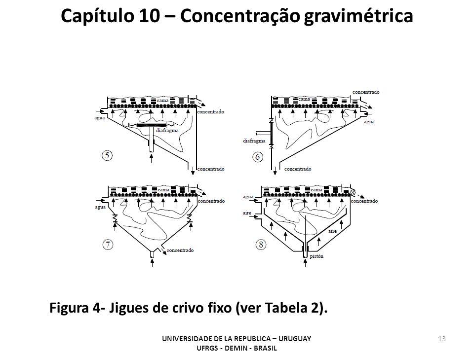 13 Capítulo 10 – Concentração gravimétrica UNIVERSIDADE DE LA REPUBLICA – URUGUAY UFRGS - DEMIN - BRASIL Figura 4- Jigues de crivo fixo (ver Tabela 2)