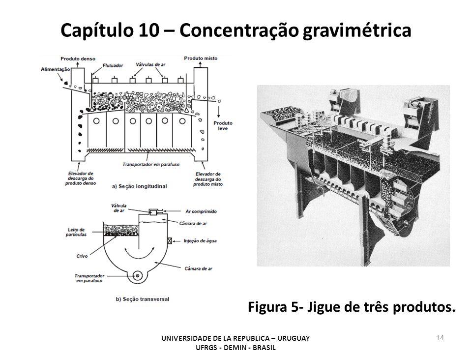Capítulo 10 – Concentração gravimétrica UNIVERSIDADE DE LA REPUBLICA – URUGUAY UFRGS - DEMIN - BRASIL 14 Figura 5- Jigue de três produtos.