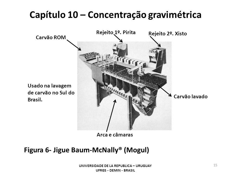 Capítulo 10 – Concentração gravimétrica UNIVERSIDADE DE LA REPUBLICA – URUGUAY UFRGS - DEMIN - BRASIL 15 Figura 6- Jigue Baum-McNally® (Mogul) Rejeito