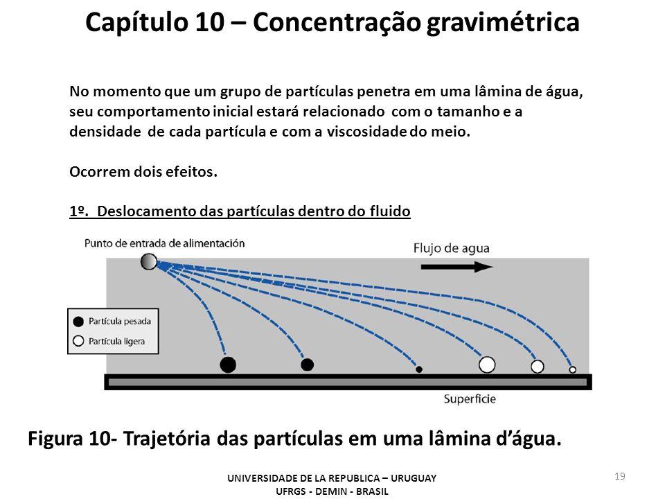 19 Capítulo 10 – Concentração gravimétrica Figura 10- Trajetória das partículas em uma lâmina dágua. UNIVERSIDADE DE LA REPUBLICA – URUGUAY UFRGS - DE