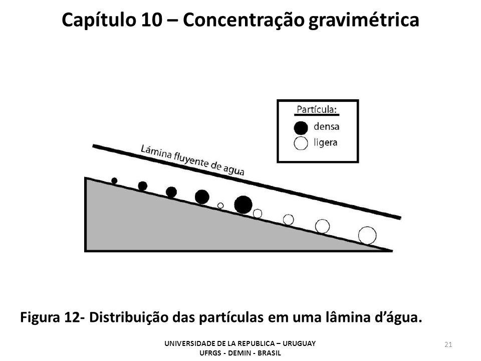 21 Capítulo 10 – Concentração gravimétrica Figura 12- Distribuição das partículas em uma lâmina dágua. UNIVERSIDADE DE LA REPUBLICA – URUGUAY UFRGS -