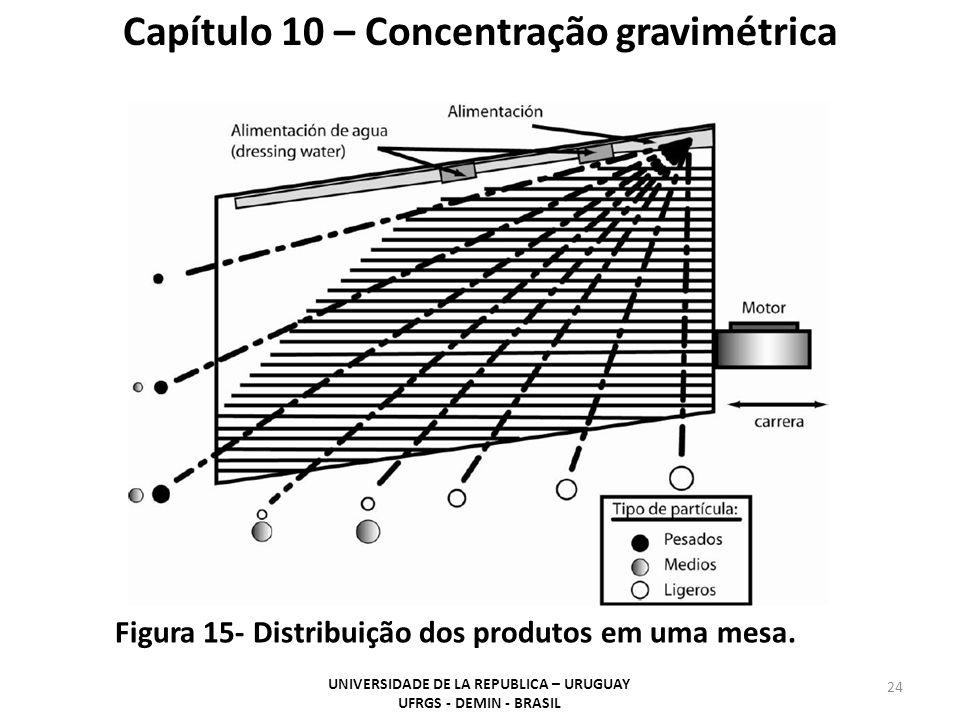 24 Capítulo 10 – Concentração gravimétrica Figura 15- Distribuição dos produtos em uma mesa. UNIVERSIDADE DE LA REPUBLICA – URUGUAY UFRGS - DEMIN - BR