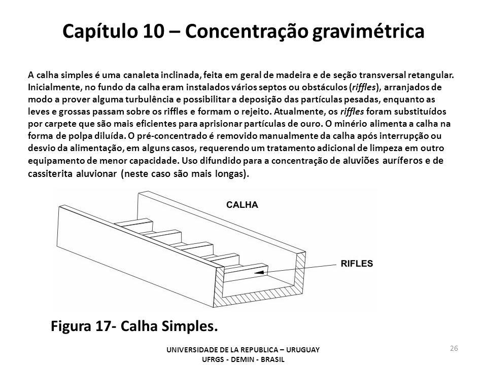 Capítulo 10 – Concentração gravimétrica UNIVERSIDADE DE LA REPUBLICA – URUGUAY UFRGS - DEMIN - BRASIL 26 Figura 17- Calha Simples. A calha simples é u