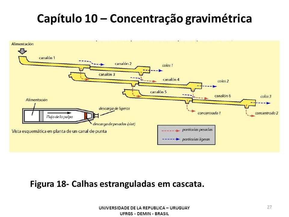 Capítulo 10 – Concentração gravimétrica UNIVERSIDADE DE LA REPUBLICA – URUGUAY UFRGS - DEMIN - BRASIL 27 Figura 18- Calhas estranguladas em cascata.