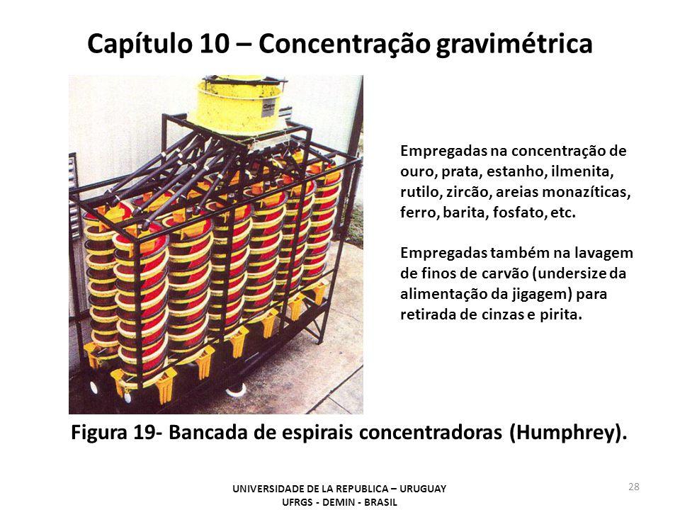 Capítulo 10 – Concentração gravimétrica UNIVERSIDADE DE LA REPUBLICA – URUGUAY UFRGS - DEMIN - BRASIL 28 Figura 19- Bancada de espirais concentradoras