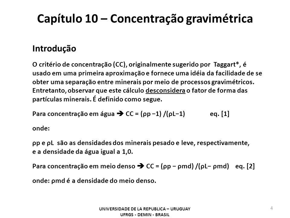 Capítulo 10 – Concentração gravimétrica UNIVERSIDADE DE LA REPUBLICA – URUGUAY UFRGS - DEMIN - BRASIL 4 Introdução O critério de concentração (CC), or
