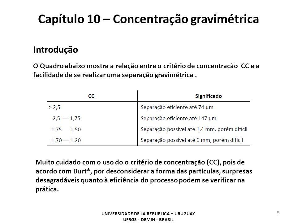 Capítulo 10 – Concentração gravimétrica UNIVERSIDADE DE LA REPUBLICA – URUGUAY UFRGS - DEMIN - BRASIL 5 Introdução O Quadro abaixo mostra a relação en