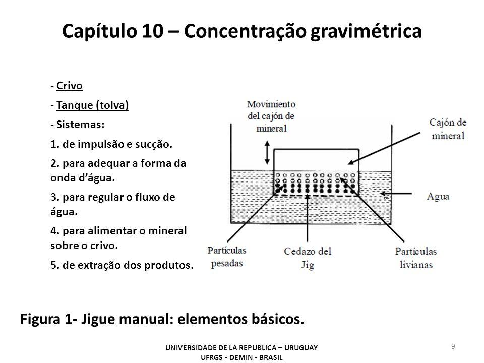 Capítulo 10 – Concentração gravimétrica UNIVERSIDADE DE LA REPUBLICA – URUGUAY UFRGS - DEMIN - BRASIL 9 Figura 1- Jigue manual: elementos básicos. - C