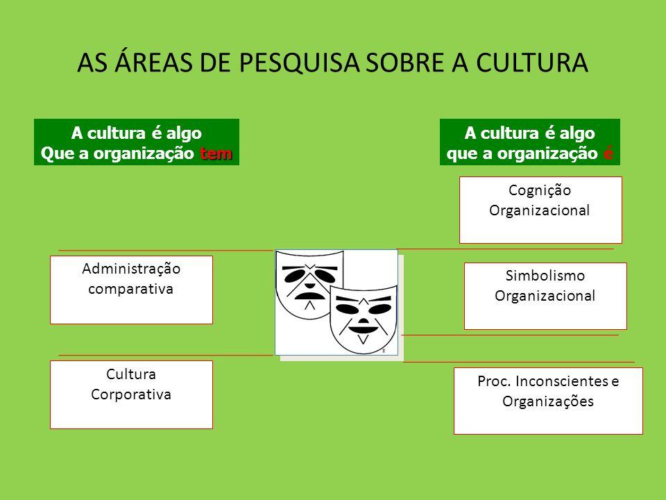AS ÁREAS DE PESQUISA SOBRE A CULTURA Cognição Organizacional Proc. Inconscientes e Organizações Simbolismo Organizacional Administração comparativa Cu