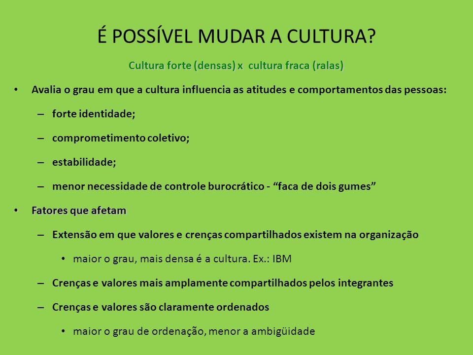 É POSSÍVEL MUDAR A CULTURA? Cultura forte (densas) x cultura fraca (ralas) Avalia o grau em que a cultura influencia as atitudes e comportamentos das