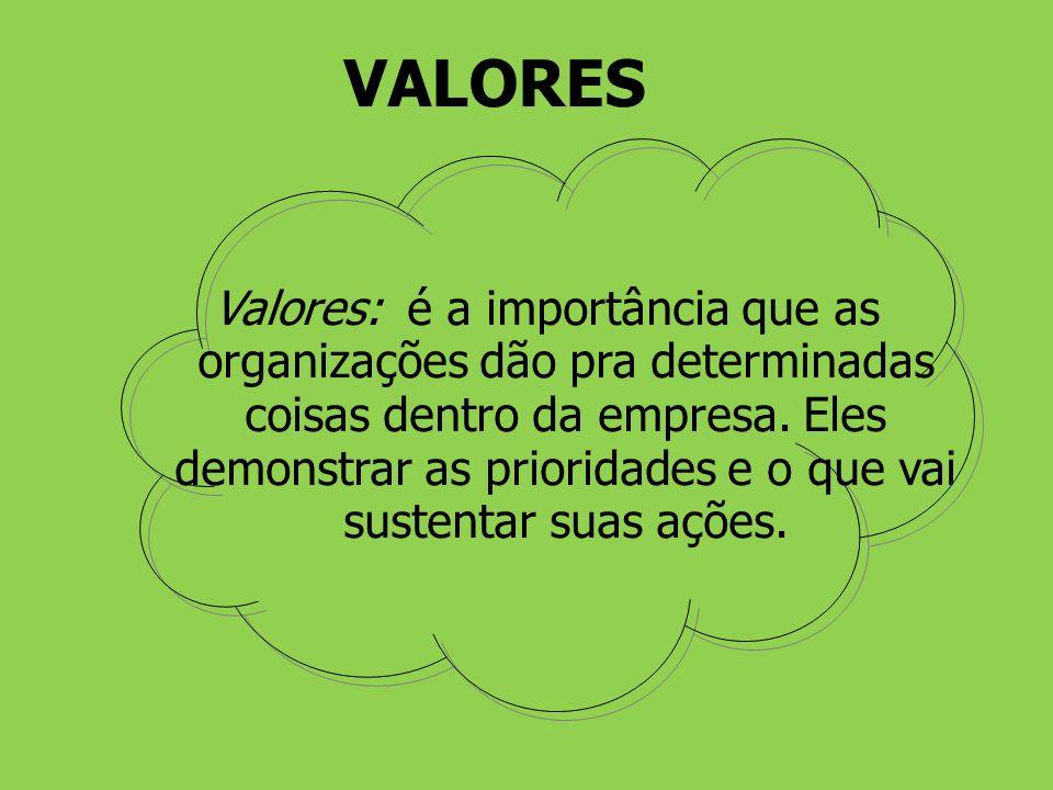 Valores: é a importância que as organizações dão pra determinadas coisas dentro da empresa. Eles demonstrar as prioridades e o que vai sustentar suas