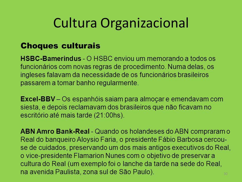 30 Cultura Organizacional Choques culturais HSBC-Bamerindus - O HSBC enviou um memorando a todos os funcionários com novas regras de procedimento. Num