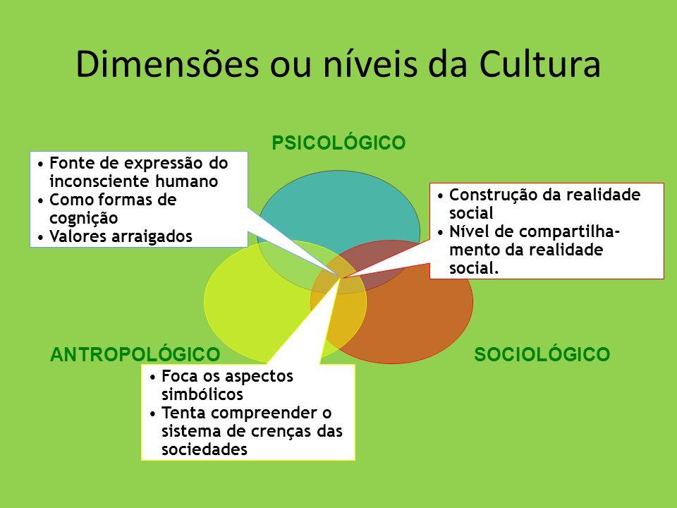 Dimensões ou níveis da Cultura PSICOLÓGICO SOCIOLÓGICOANTROPOLÓGICO Construção da realidade social Nível de compartilha- mento da realidade social. Fo