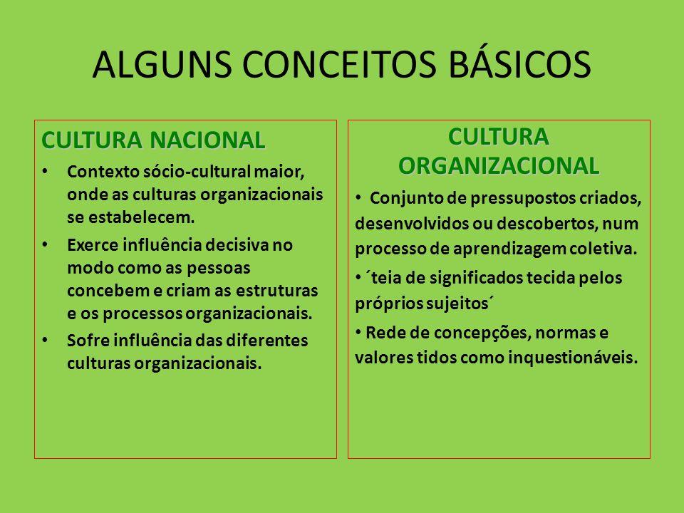 ALGUNS CONCEITOS BÁSICOS CULTURA NACIONAL Contexto sócio-cultural maior, onde as culturas organizacionais se estabelecem. Exerce influência decisiva n