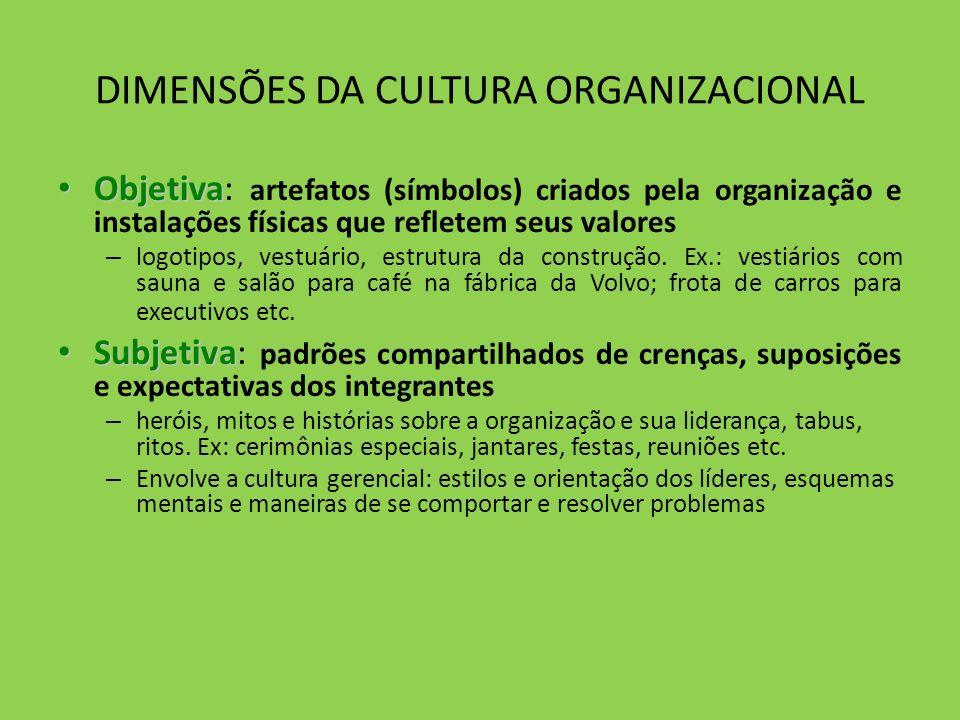 DIMENSÕES DA CULTURA ORGANIZACIONAL Objetiva Objetiva: artefatos (símbolos) criados pela organização e instalações físicas que refletem seus valores –