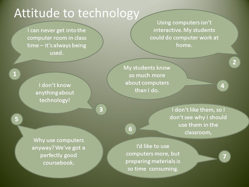 Attitude to technology I can never get into the computer room in class time – its always being used. Using computers isnt interactive. My students cou