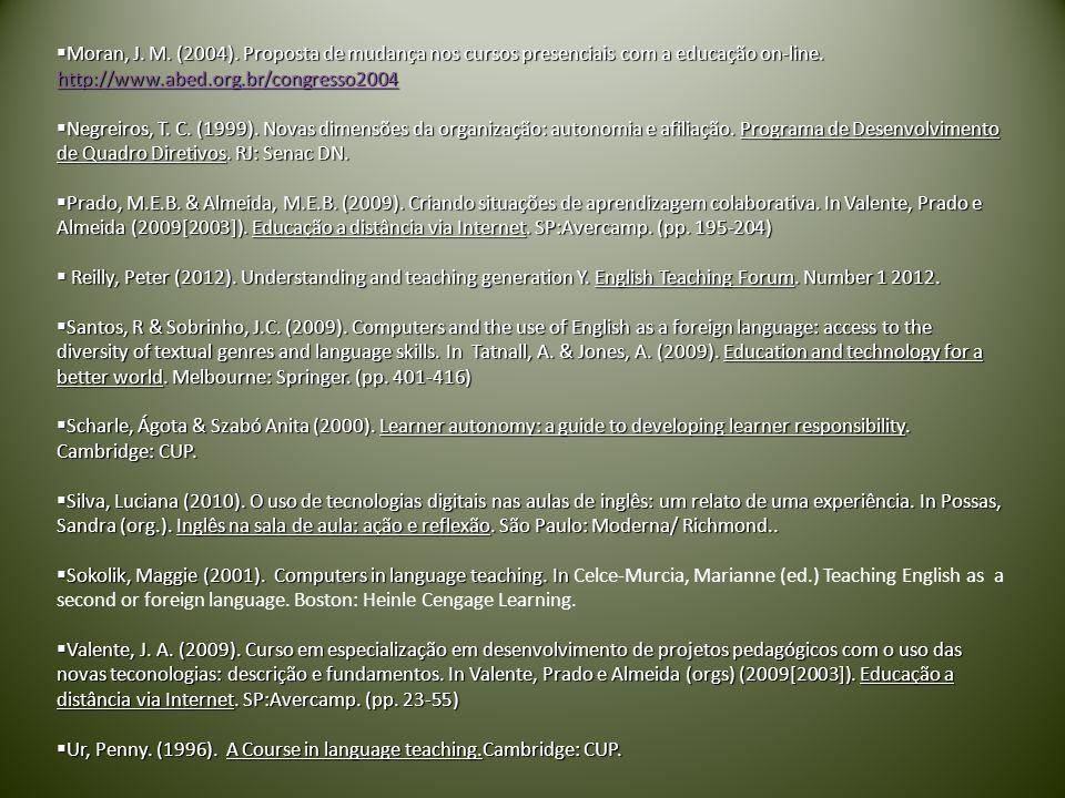 Moran, J.M. (2004). Proposta de mudança nos cursos presenciais com a educação on-line.