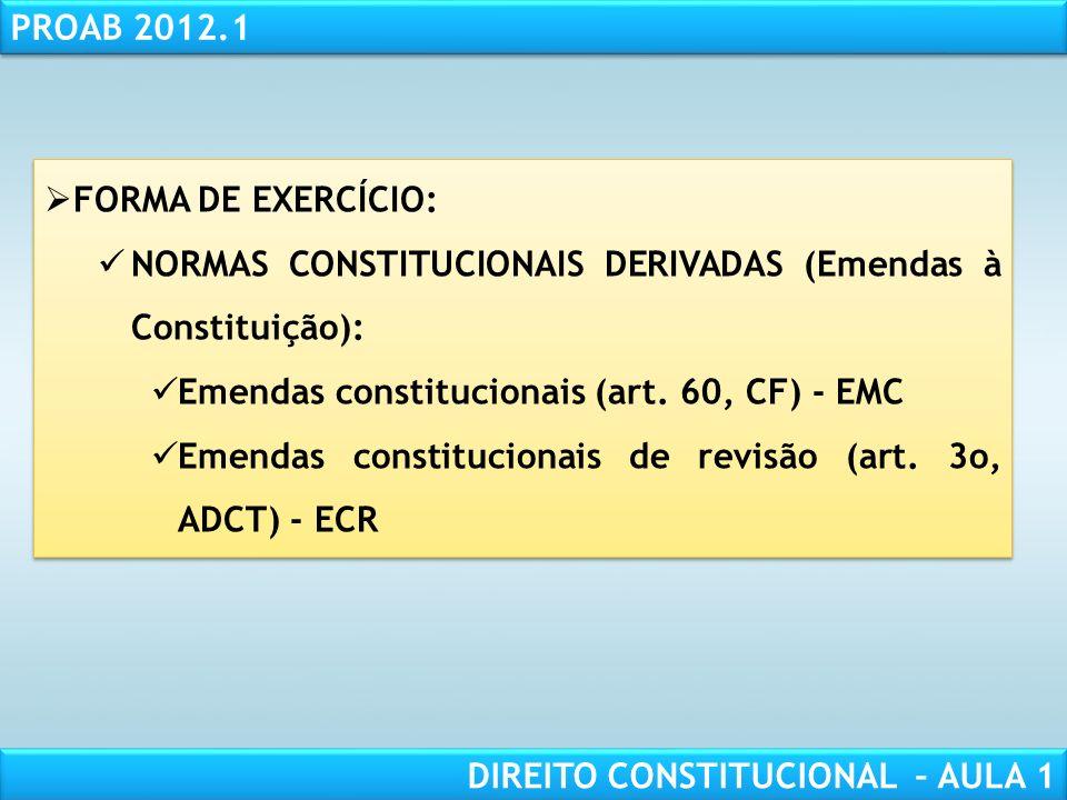 RESPONSABILIDADE CIVIL AULA 1 PROAB 2012.1 DIREITO CONSTITUCIONAL – AULA 1 6. PODER CONSTITUINTE DERIVADO (2o GRAU, CONSTITUÍDO, INSTITUÍDO OU REFORMA