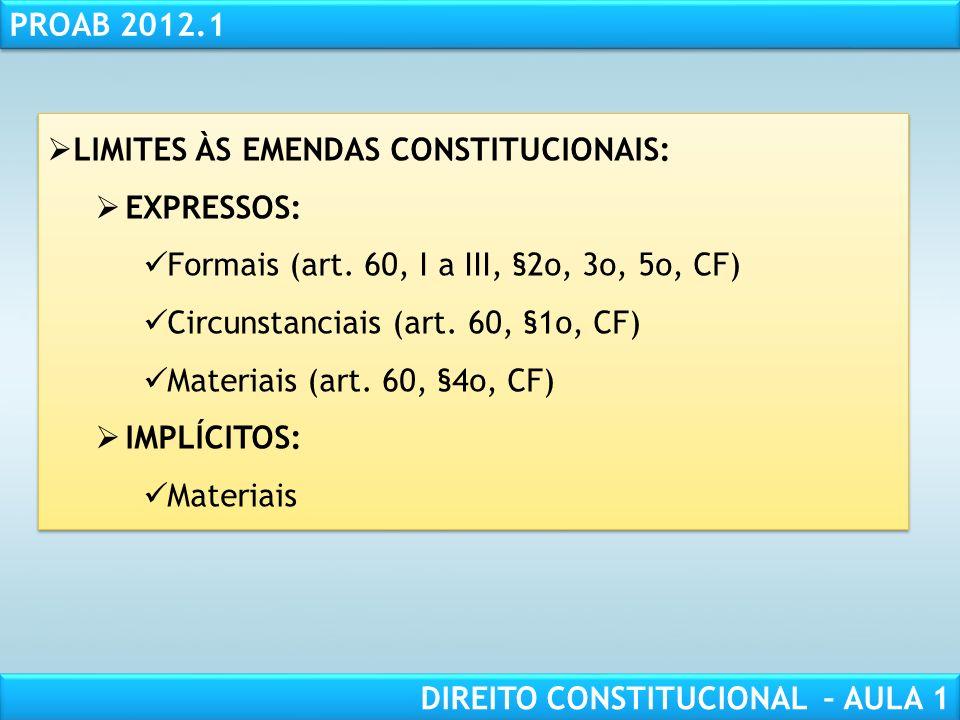 RESPONSABILIDADE CIVIL AULA 1 PROAB 2012.1 DIREITO CONSTITUCIONAL – AULA 1 FORMA DE EXERCÍCIO: NORMAS CONSTITUCIONAIS DERIVADAS (Emendas à Constituiçã