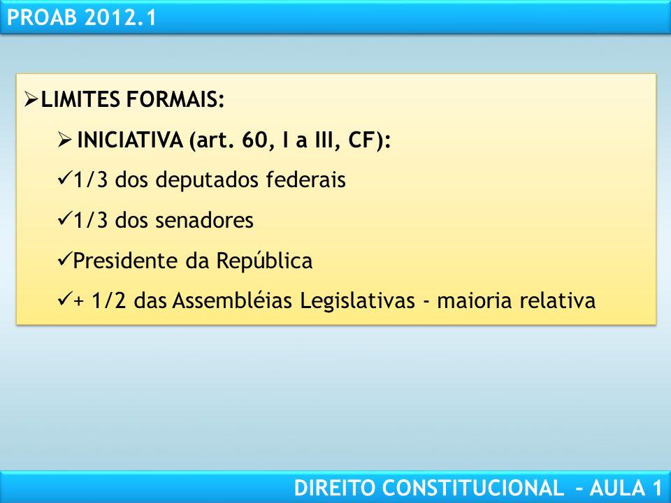 RESPONSABILIDADE CIVIL AULA 1 PROAB 2012.1 DIREITO CONSTITUCIONAL – AULA 1 LIMITES ÀS EMENDAS CONSTITUCIONAIS: EXPRESSOS: Formais (art. 60, I a III, §