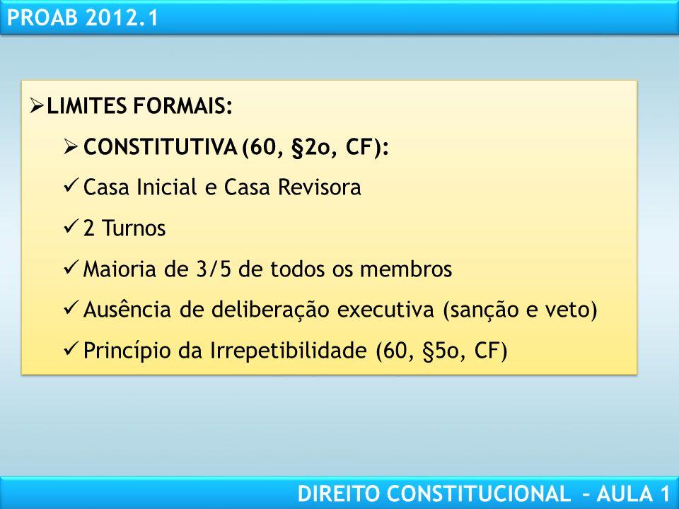 RESPONSABILIDADE CIVIL AULA 1 PROAB 2012.1 DIREITO CONSTITUCIONAL – AULA 1 LIMITES FORMAIS: INICIATIVA (art. 60, I a III, CF): 1/3 dos deputados feder