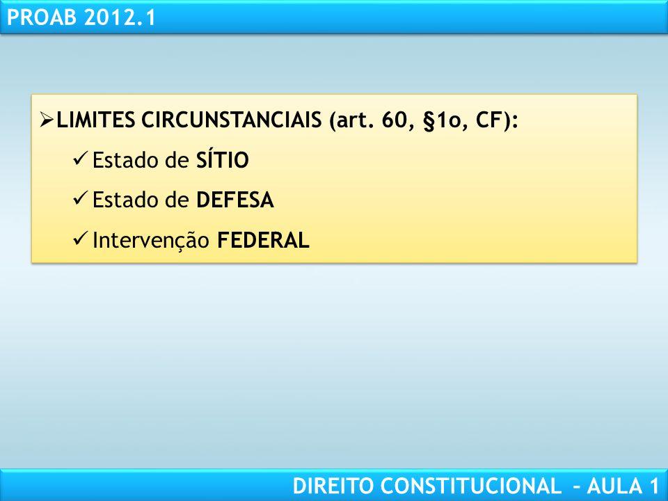 RESPONSABILIDADE CIVIL AULA 1 PROAB 2012.1 DIREITO CONSTITUCIONAL – AULA 1 LIMITES FORMAIS: INTEGRATIVA DE EFICÁCIA (art. 60, §3o, CF): Promulgação e