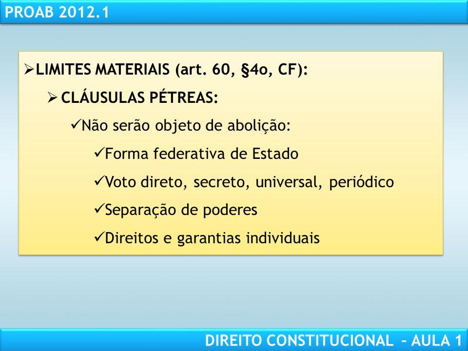 RESPONSABILIDADE CIVIL AULA 1 PROAB 2012.1 DIREITO CONSTITUCIONAL – AULA 1 LIMITES CIRCUNSTANCIAIS (art. 60, §1o, CF): Estado de SÍTIO Estado de DEFES