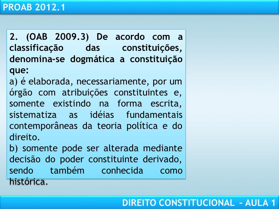 RESPONSABILIDADE CIVIL AULA 1 PROAB 2012.1 DIREITO CONSTITUCIONAL – AULA 1 c) As limitações expressas com relação às emendas à CF restringem-se às tem