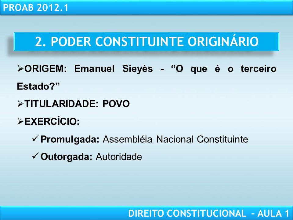 RESPONSABILIDADE CIVIL AULA 1 PROAB 2012.1 DIREITO CONSTITUCIONAL – AULA 1 FORMA DE EXERCÍCIO: NORMAS CONSTITUCIONAIS DERIVADAS (Emendas à Constituição): Emendas constitucionais (art.