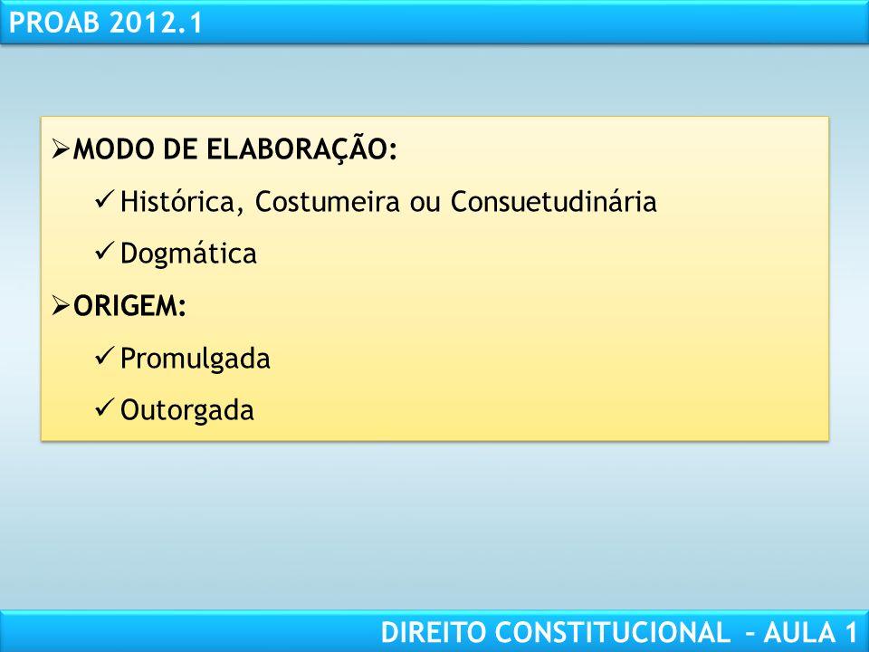 RESPONSABILIDADE CIVIL AULA 1 PROAB 2012.1 DIREITO CONSTITUCIONAL – AULA 1 3. CLASSIFICAÇÃO DAS CONSTITUIÇÕES CONTEÚDO: Material Formal FORMA: Não - e