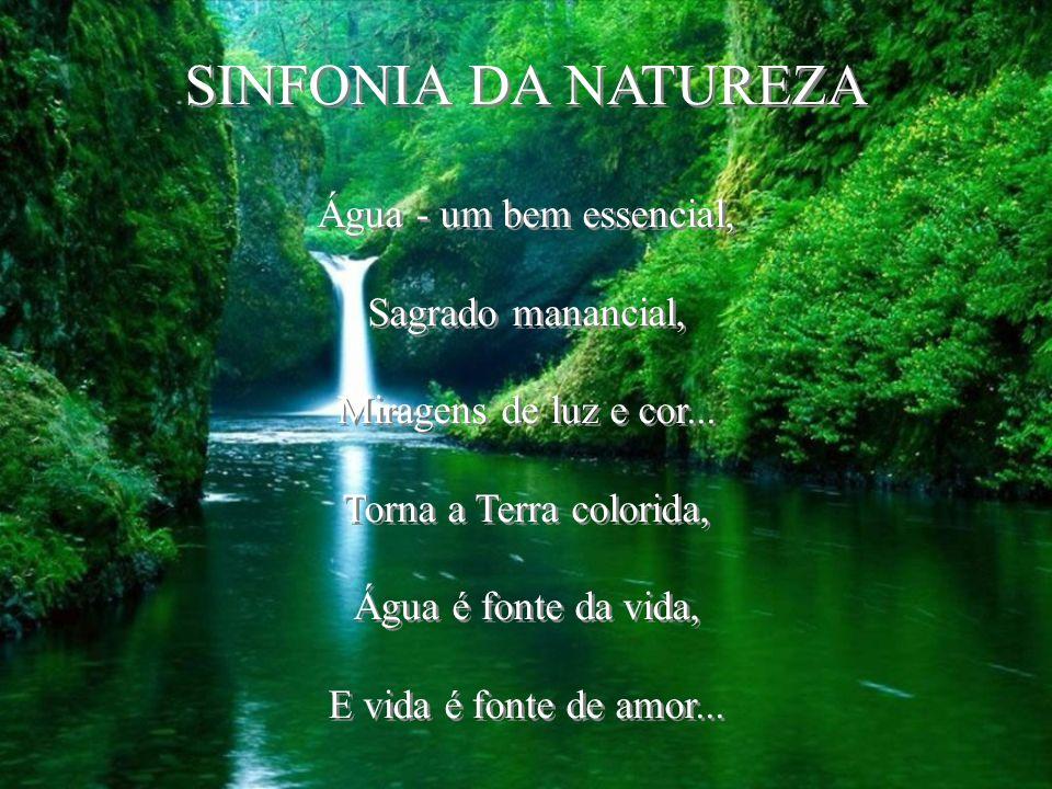 SINFONIA DA NATUREZA Água - um bem essencial, Sagrado manancial, Miragens de luz e cor...
