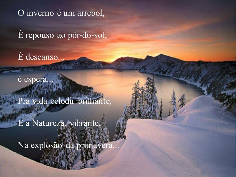Nem o frio do inverno Diminui o doce, o terno, Carinho da Natureza, Que compensa tal rigor Nos mostrando com amor Este esplendor de beleza! Nem o frio