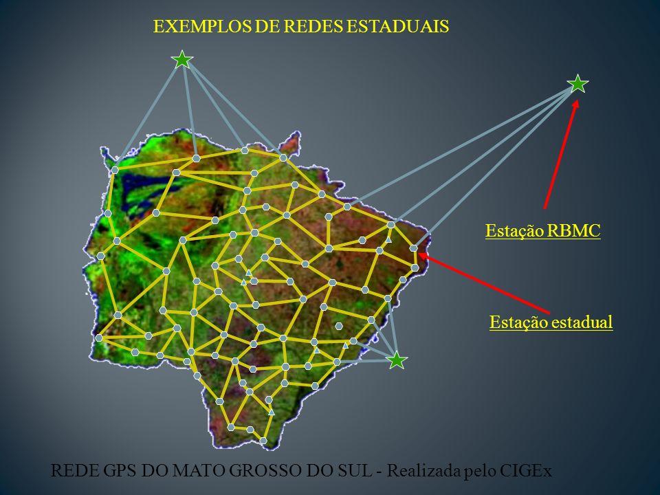 EXEMPLOS DE REDES ESTADUAIS REDE GPS DO MATO GROSSO DO SUL - Realizada pelo CIGEx Estação RBMC Estação estadual