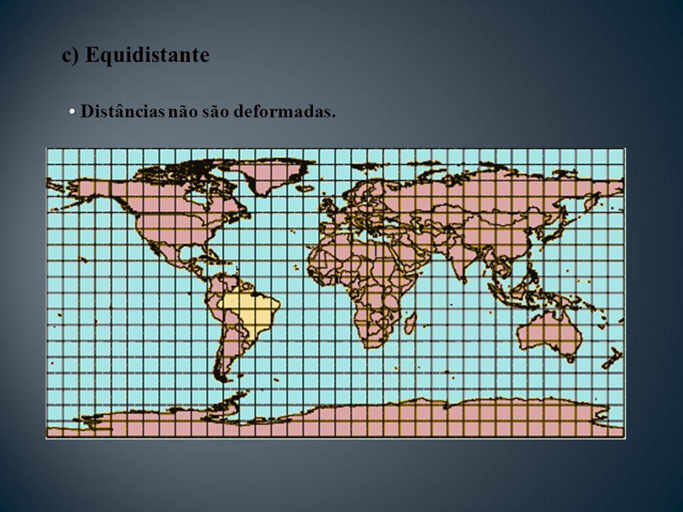 c) Equidistante Distâncias não são deformadas.