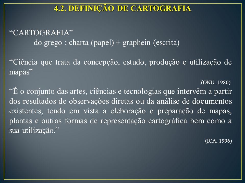 4.2. DEFINIÇÃO DE CARTOGRAFIA CARTOGRAFIA do grego : charta (papel) + graphein (escrita) Ciência que trata da concepção, estudo, produção e utilização