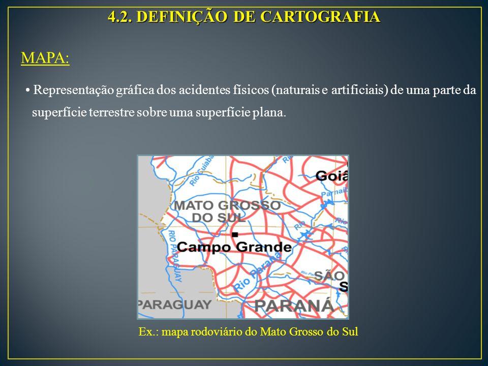 4.2. DEFINIÇÃO DE CARTOGRAFIA MAPA: Representação gráfica dos acidentes físicos (naturais e artificiais) de uma parte da superfície terrestre sobre um