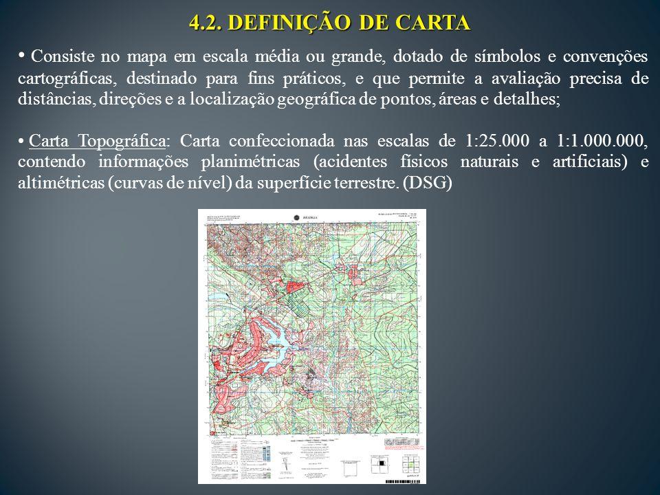 4.2. DEFINIÇÃO DE CARTA Consiste no mapa em escala média ou grande, dotado de símbolos e convenções cartográficas, destinado para fins práticos, e que
