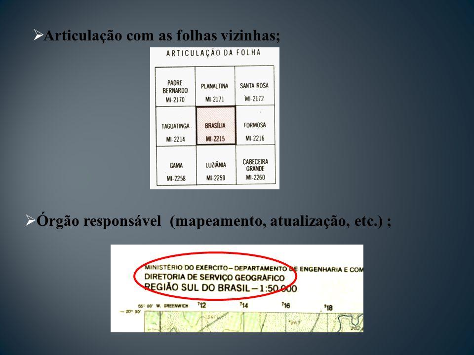 Articulação com as folhas vizinhas; Órgão responsável (mapeamento, atualização, etc.) ;