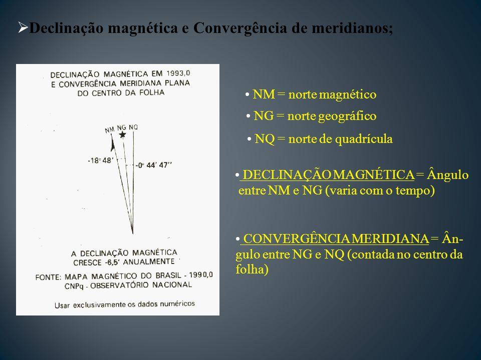 Declinação magnética e Convergência de meridianos; NM = norte magnético NG = norte geográfico NQ = norte de quadrícula DECLINAÇÃO MAGNÉTICA = Ângulo entre NM e NG (varia com o tempo) CONVERGÊNCIA MERIDIANA = Ân- gulo entre NG e NQ (contada no centro da folha)