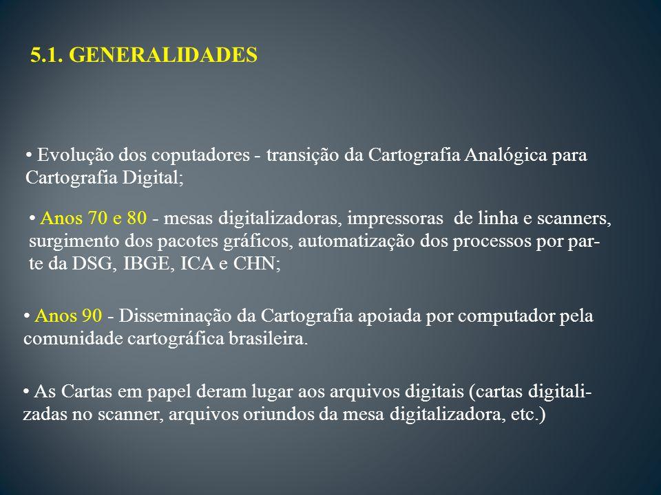 5.1. GENERALIDADES Evolução dos coputadores - transição da Cartografia Analógica para Cartografia Digital; Anos 70 e 80 - mesas digitalizadoras, impre