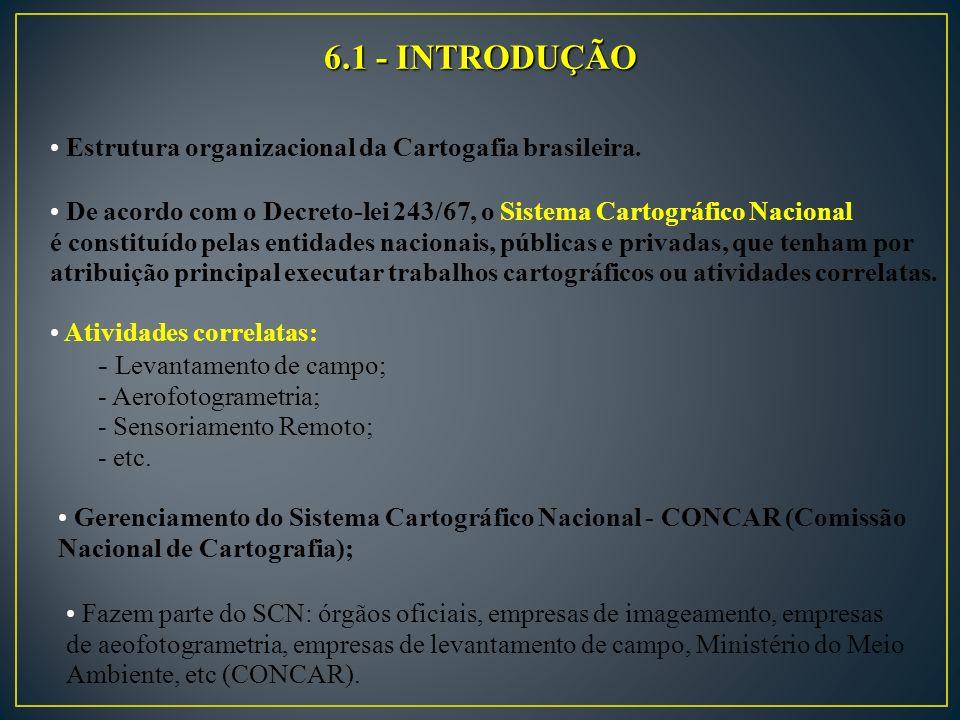 6.1 - INTRODUÇÃO Estrutura organizacional da Cartogafia brasileira.